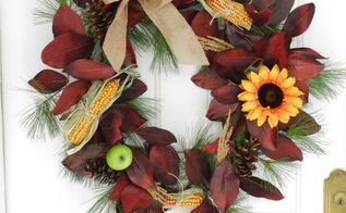 easy diy fall wreath ideas, seasonal holiday d cor, wreaths, The deep red and green go well with the corn and sunflower The burlap ribbon is tied like I tie a sneaker