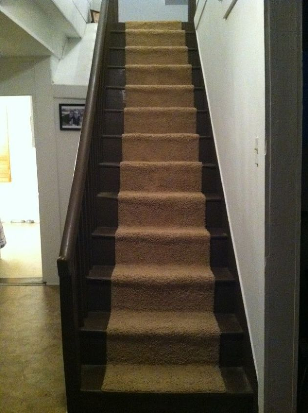 replaced stairway runner little crooked but i ll blame the steps lol, flooring, stairs