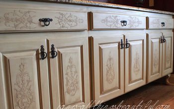 how to emboss furniture diy, crafts, kitchen cabinets, painted furniture, after stencil embossed buffet