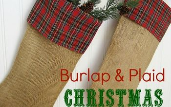 my christmas stockings burlap and plaid, christmas decorations, crafts, seasonal holiday decor, Love the warm homespun look of theses stockings
