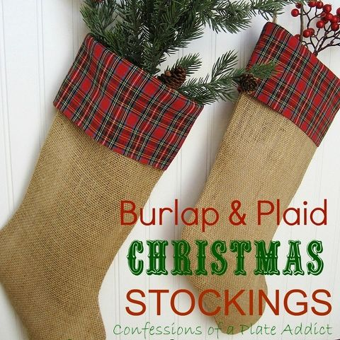 love the warm homespun look of theses stockings - Plaid Christmas Stockings