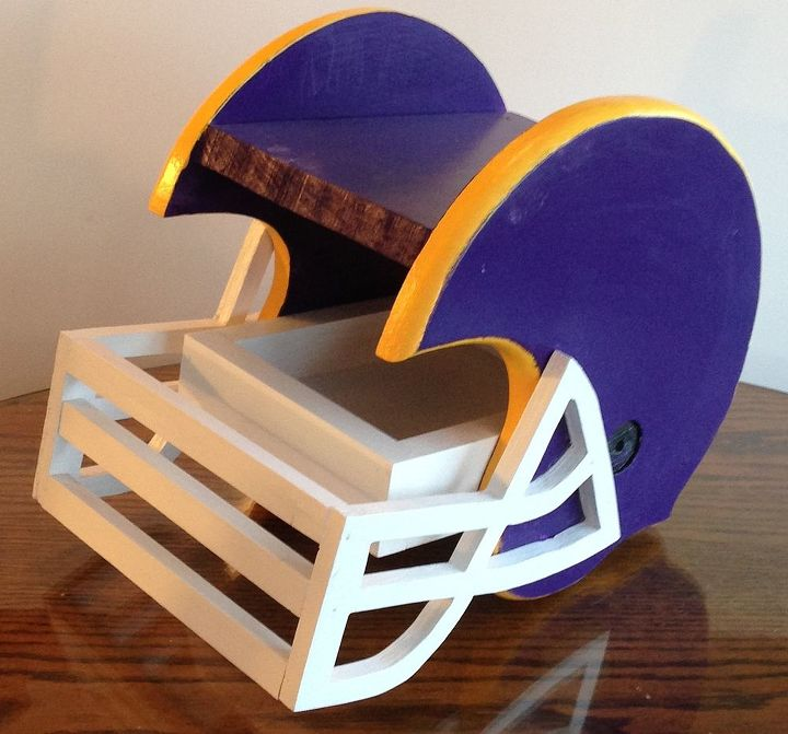 new to this, diy, woodworking projects, Football helmet bird feeder in Viking colors Have Packer too