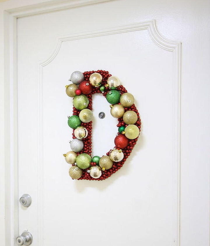 monogram ornament wreath, crafts, doors, seasonal holiday decor, wreaths