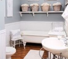q could you tell me the paint color of one of the walls in your tour, painting, Gorgeous gray and white guest bathroom