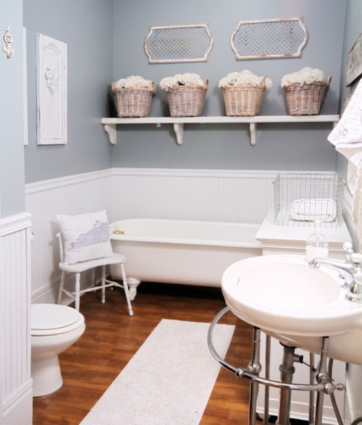 Gorgeous gray and white guest bathroom