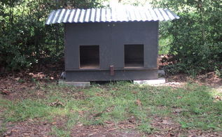 we needed a large dog house it was built from a cabinet total cost 20 00, diy, pets animals, repurposing upcycling, They cut out 2 holes for doors The original cabinet doors still open for easy cleaning Put on a latch and a roof We already had paint so it just needs to be painted TOTAL COST LESS THAN 20 00