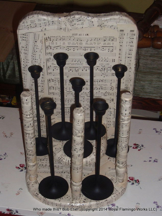 A few candlesticks couldn't hurt, could they? I hope not, because I glued them on with E-6000 after spray painting them. It almost looks religious.