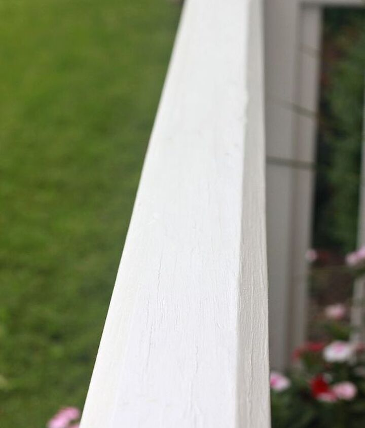 I gave the railings two coats of a white exterior paint & primer in one in a semi-gloss finish.