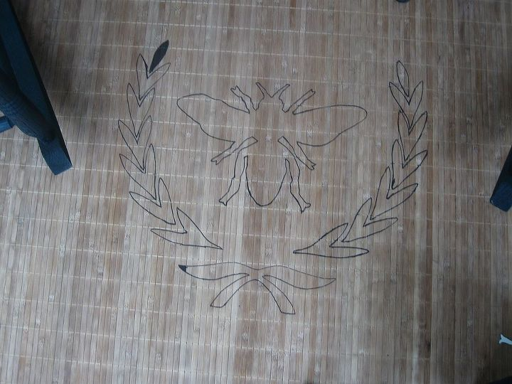 Traced the pattern onto the rug.