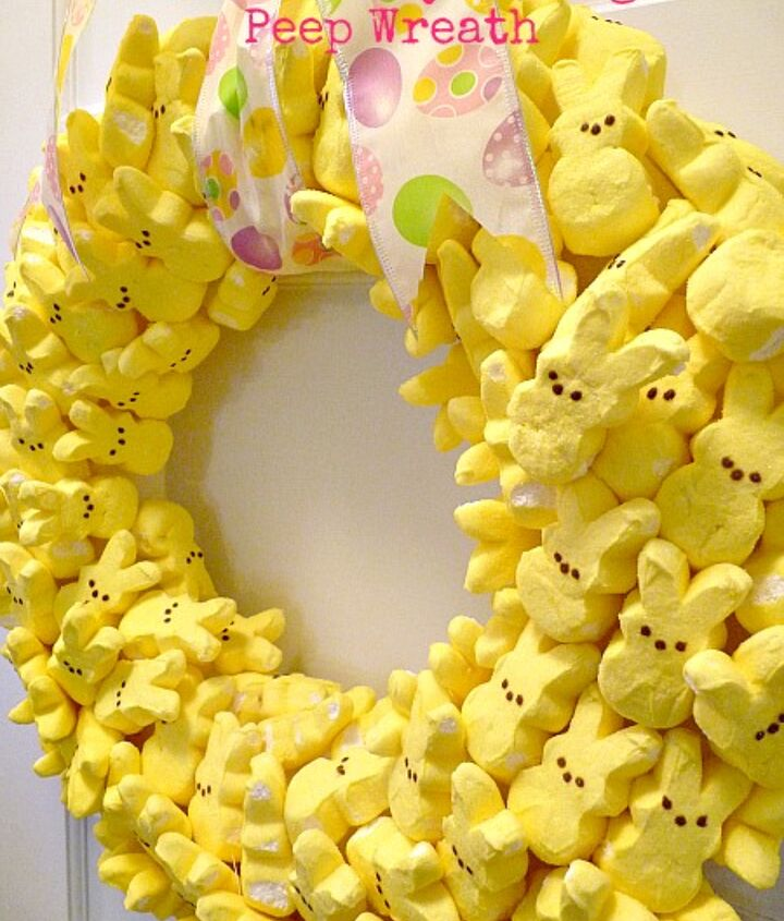 Make your own Peep Wreath!  Simple with a few things - wreath form, toothpicks and peeps.  http://eclecticallyvintage.com/2012/03/party-with-my-peeps-easter-wreath-3/