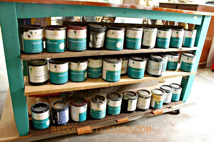 Everything I need is right underneath my large work table. One side holds labeled containers, the other side holds all my CeCe Caldwell's paint.  I can store large items like baskets in the center.