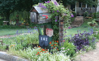 address signs were posted online today so i m adding mine, gardening, My mailbox in full bloom with address sign