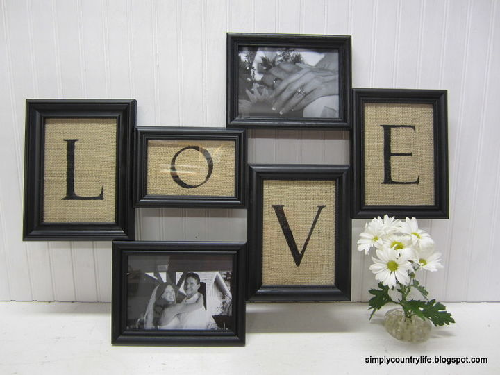 turn thrift store frames and burlap into collage wall art, crafts, home decor, repurposing upcycling, Completed collage frame