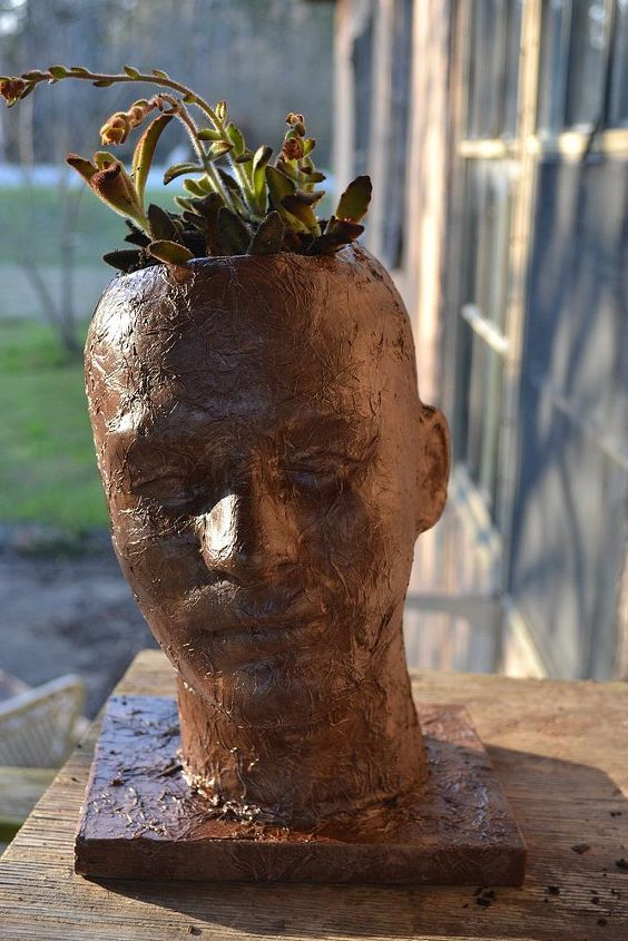 faux distressed leather head planter, crafts, gardening, painting, repurposing upcycling, Finished planter