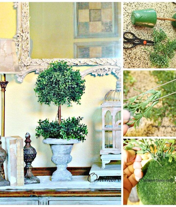 cutting boxwood garland to size and using floral pins to attache to Styrofoam ball
