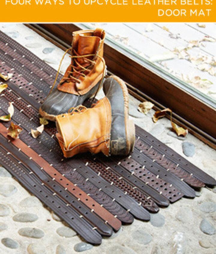 Make a leather belt door mat
