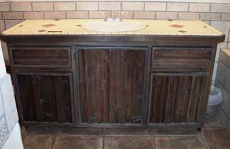 mind blowing make over of barn wood bath cabinets, bathroom ideas, diy, kitchen cabinets, painted furniture, woodworking projects, The cabinets before were super rustic barn wood that had been hard glued on to the surface of the cabinet framing