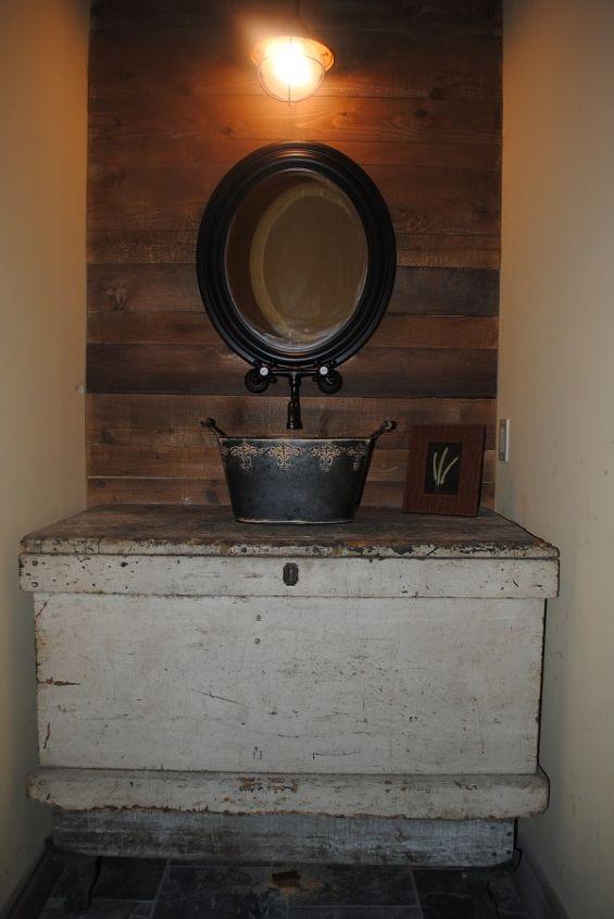 Carpenters chest, bucket sink, cedar wall