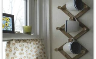 repurposed coat rack to coffee cup holder, repurposing upcycling, Coffee cups organized