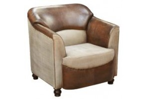 portland leather and canvas club armchair, products