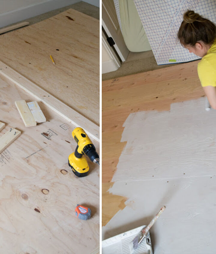 Cut plywood to desired size and paint. Trim out boxes where the nailhead design will go.