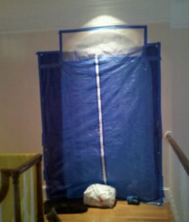The door leading into the new office. This was the best find, a zipper to adhere to a tarp to make a zipper door!