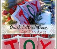 quick joy pillow toppers for christmas, christmas decorations, crafts, seasonal holiday decor, Bring holiday cheer to any seating area with quick letter pillow toppers