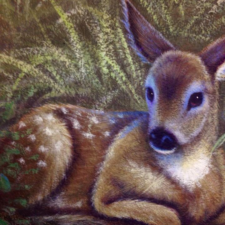 boys room hunting mural, bedroom ideas, home decor, painting, Fawn detail