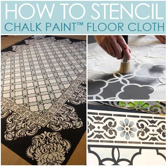 chalk paint stenciled floor cloth, flooring, painting, How to Stencil Chalk Paint Stenciled Floor Cloth