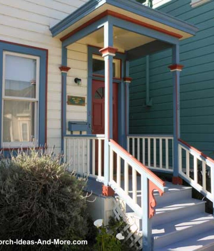 Though tiny, this covered landing porch stands out with a 3-color paint scheme.