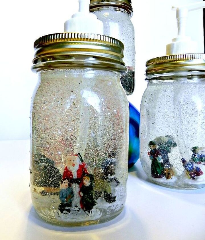 Santa-approved!  http://www.madincrafts.com/2012/12/dollar-store-mason-jar-snow-globe-soap.html