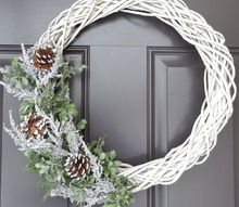 diy winter wreath, crafts, seasonal holiday decor, wreaths, Stepped back to see how I liked it and decided it worked for me