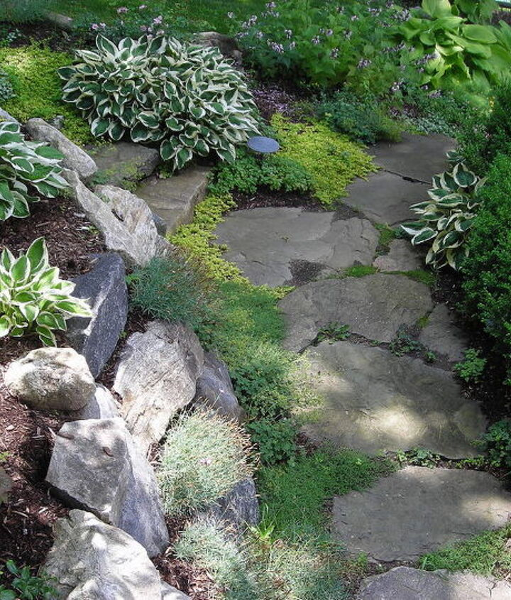 Natural Stone Path with Various Groundcovers