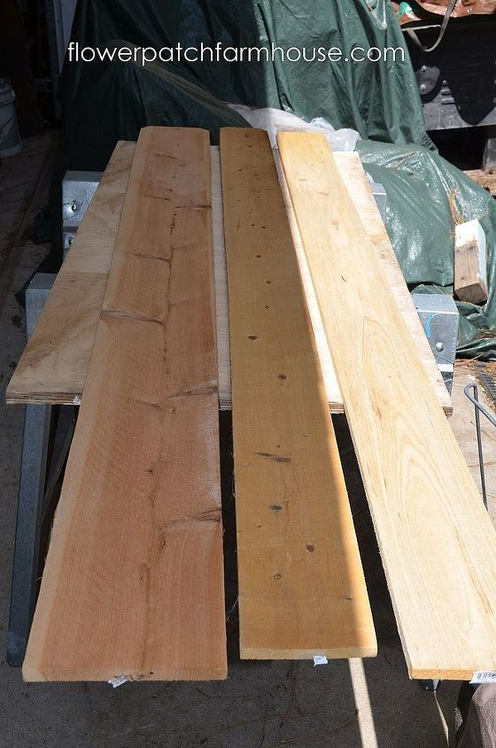 I used 3 six foot cedar fence boards, 2 six inch boards and 1 eight inch board for the base, I wanted a wider box so the roots of my plants had plenty of room.