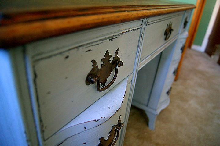 antique desk redo using diy chalk paint and diy dark wax, chalk paint, painted furniture, close up to show distressing