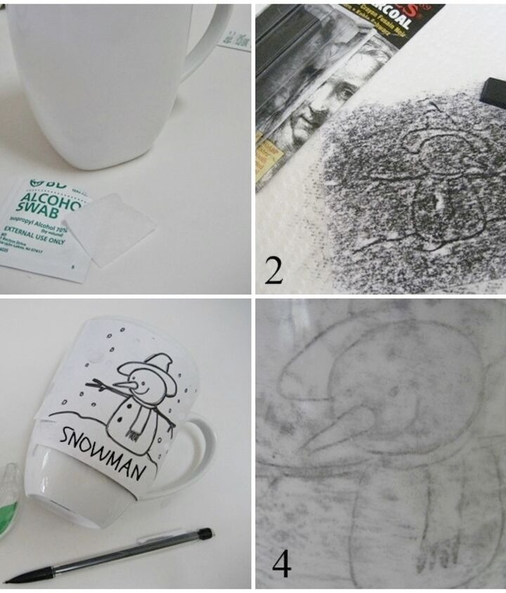 1. Clean the mugs with an alcohol swab. 2. Choose a graphic and cover the back with artist's charcoal 3. Tape to the mug and trace. 4. Remove the paper.