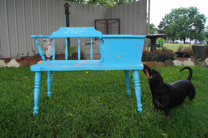 old telephone table re do, painted furniture