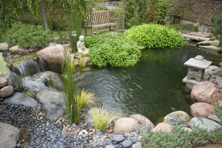 This small pond reflects its Asian influence. Japanese gardens are typically void of color other than the green of surrounding foliage and the grays and browns of smooth stone.