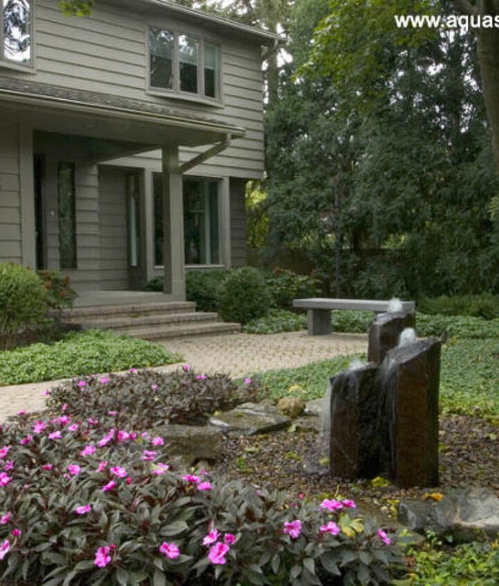 Rock fountains greet visitors to the front door.