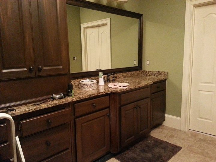 White cabinets painted to look like wood hometalk for Painting wood kitchen cabinets white