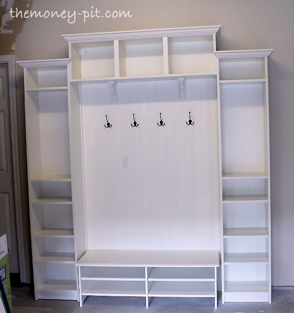 Mudroom Built Ins From Ikea Bookcases For 300 Laundry Rooms Painted Furniture Shelving