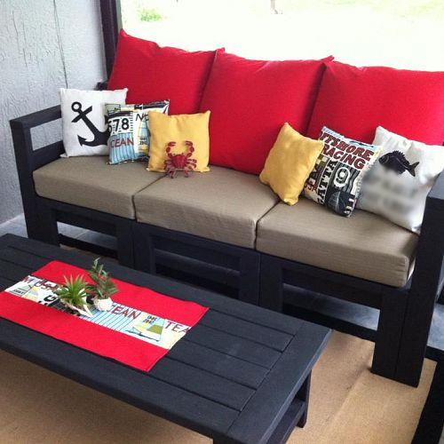 diy outdoor living space, home decor, outdoor furniture, outdoor living, Sorry I had to blur out the coordinates on the pillow another great idea to add house coordinates that I got from Pinterest