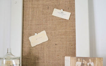 burlap covered cork board, chalkboard paint, crafts, Finished burlap covered cork board