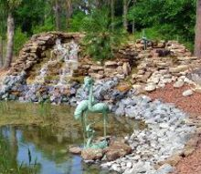 water feature on a natural pond, decks, landscape, outdoor living, ponds water features, waterfall on natural pond
