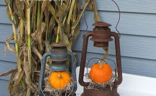 a rustic vintage fall potting sink, gardening, outdoor living, repurposing upcycling, seasonal holiday decor, Here I m using old lanterns that have no glass as mini pumpkin displays