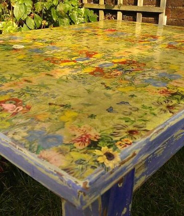 table top transformation napkin decoupage diy tutorial, painted furniture