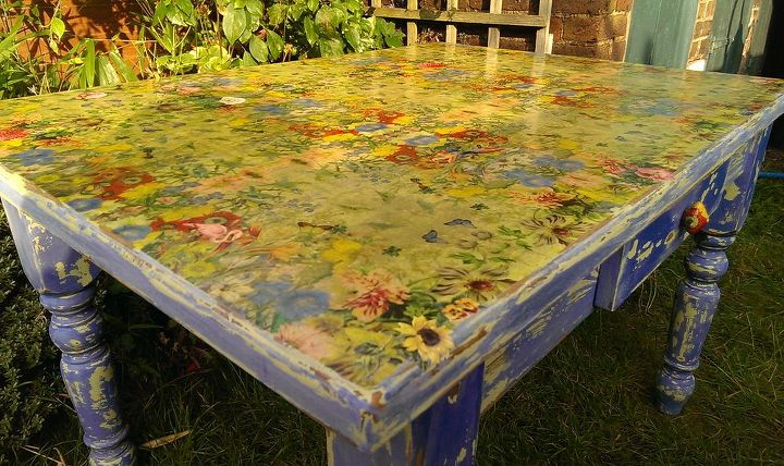 table top transformation napkin decoupage diy tutorial, painted furniture