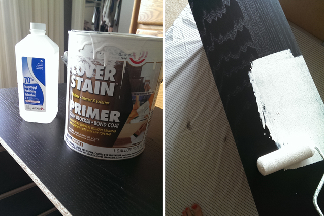 Clean and Prime:  I used my typical method of Rubbing Alcohol and Zinsser Primer.