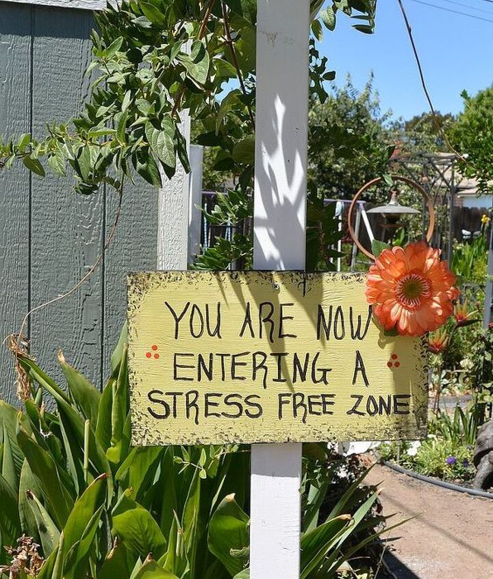 The sign I made as you enter the backyard.
