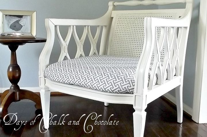 vintage chair redo, painted furniture, reupholster, I replaced the seat with a gray graphic print fabric to update it